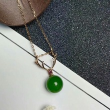 SHILOVEM 18k rose gold Natural green Jasper pendants no necklace classic fine Jewelry women wedding gift 8*8mm mymz080809by