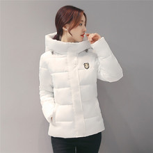 2016 autumn and winter coat female feather padded short paragraph Korean Slim thin hooded jacket coat big yards
