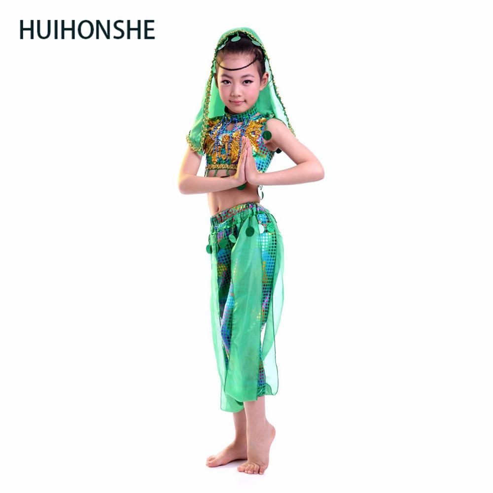 HUIHONSHE Kids Belly Dance Costume Set Girls Bellydance Costumes With Veil Bracelets Bollywood Indian Dancing Girl's Dance Wear