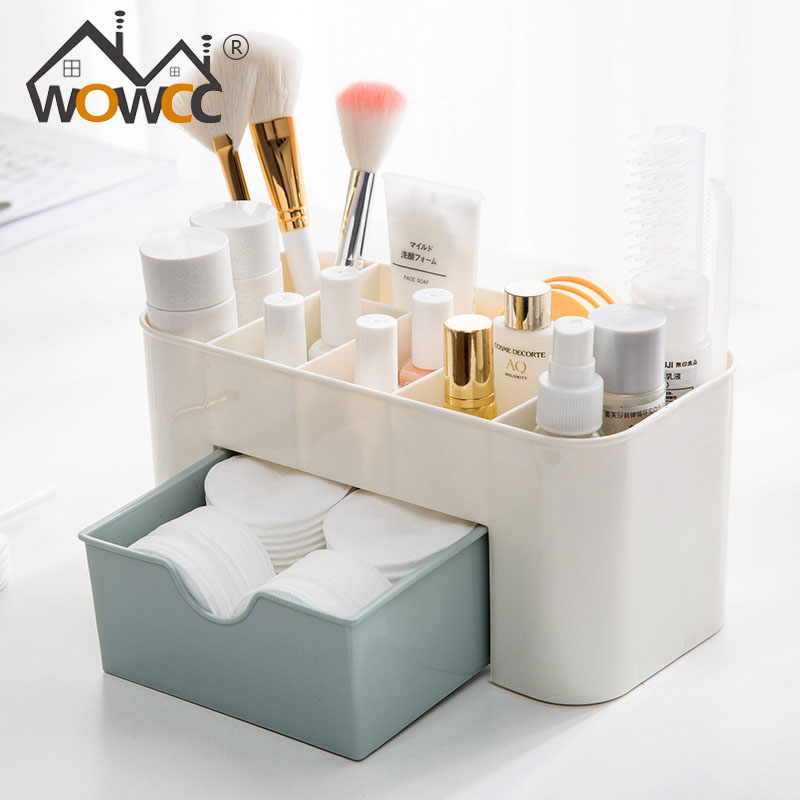 WOWCC Cosmetic Jewelry Organizer Office Storage Drawer Desk Makeup Case Plastic Makeup Brush Box Lipstick Remote Control Holder