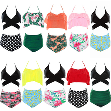 2018 Sexy High Waist Bikini Women's Swimming Suit Swimwear Cross Push Up Swimsuit Ruffle Bathing Suit Summer Beach Wear Female