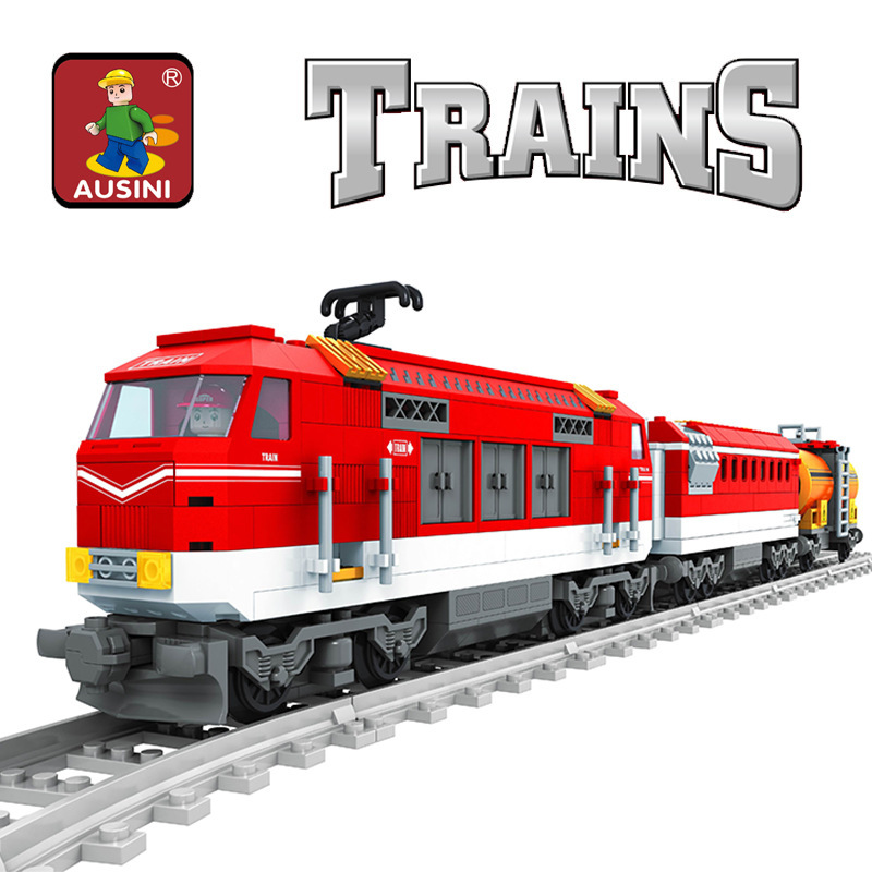 Model building kits compatible with lego city train rails traffic 3D blocks Educational model building toys hobbies for children new building block simulation china yuejin train building blocks compatible major brand blocks educational toys for children