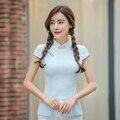 Cheongsams Tops Mujeres Nueva Moda de Algodón Camisas Cortas Retro Vintage Tradición China Blusas Delgadas