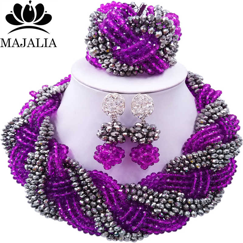 Majalia African Fashion Women Jewelry Set Purple silver Nigerian Wedding Jewelry Beaded Sets 12CB009Majalia African Fashion Women Jewelry Set Purple silver Nigerian Wedding Jewelry Beaded Sets 12CB009