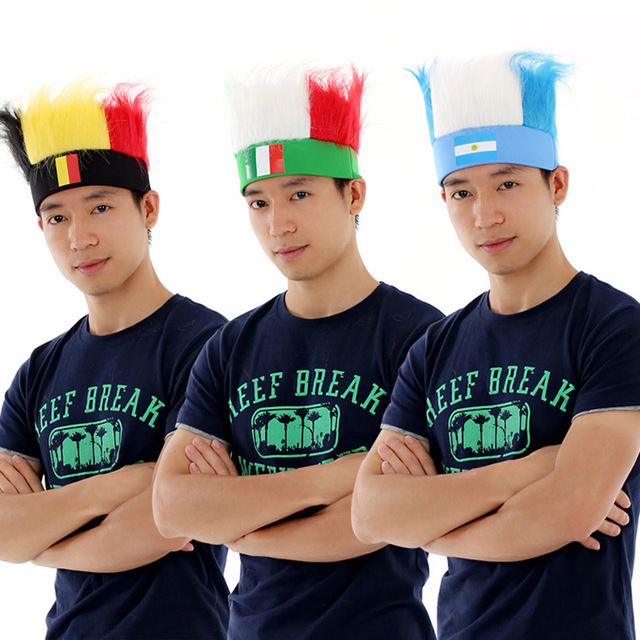 0928cab2e8a World Soccer Football Fans Hats Headband with Colorful Fur Wig Ployester  Stretchy Countries Flag Hats Headwear Souvenir