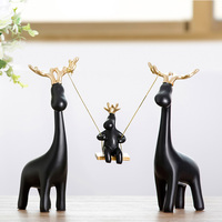 Nordic style four deer ornaments creative living room modern TV wine cabinet home decorations new wedding gift
