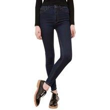 2016 New Fashion Women Plus Size Stretch Skinny Mid Waist Jeans Pants Dark Blue Pencil Casual Slim Package Hip Denim Pants