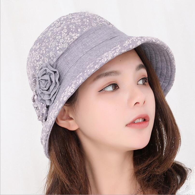 2018 New Spring Summer Fisherman Hat Women Fashion Cotton Linen tow Flower Bucket Hat Female Sunscreen Sun Hat Fishing Cap