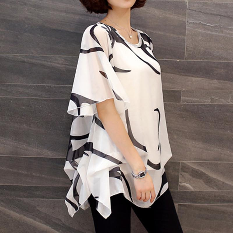 Blusa Blouse Women Shirt Summer Chiffon Shirt Plump Sister Loose Sleeve Women Tops