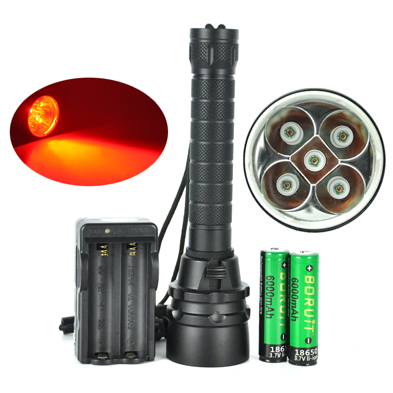 ФОТО 80m Underwater 5x XPE LED Red Diving Flashlight 620nm Scuba Torch Video Picture Photographing Light+18650 battery+Charger