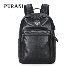 PURANI USB Charging Men's Backpack Black PU Leather Backpacks Male Travel Bag Men Laptop Backpack Large School Bags Mochila Bags
