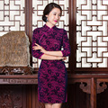 Plus size spring silk velvet women dress cheongsam Chinese wedding dress vestidos tang suit Qipao party dress size S-3XL 4colors