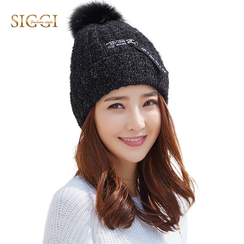 FANCET Women Winter   Skullies     Beanies   Solid 100% Wool Brim Warm PomPom Knitted Hats Fleece Casual For Girl 2018 Caps 89207