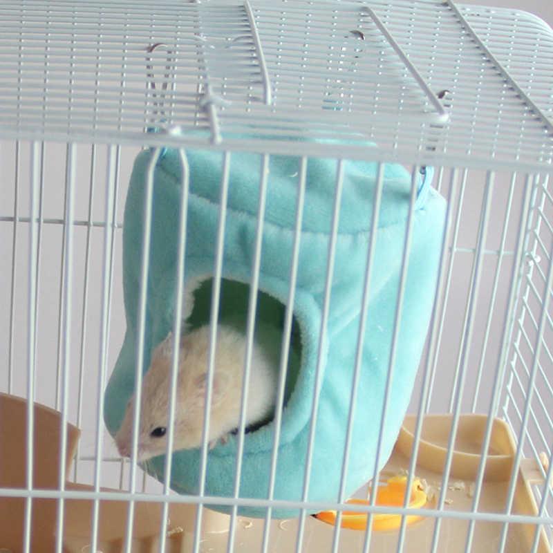 Tamanho Inverno Quente Fluffy 2 Cilindro De Algodão Hammock Hanging Bed Hamster Esquilo Gaiola de Pássaro Ninho Pequeno Pet Abastecimento Cor Aleatória