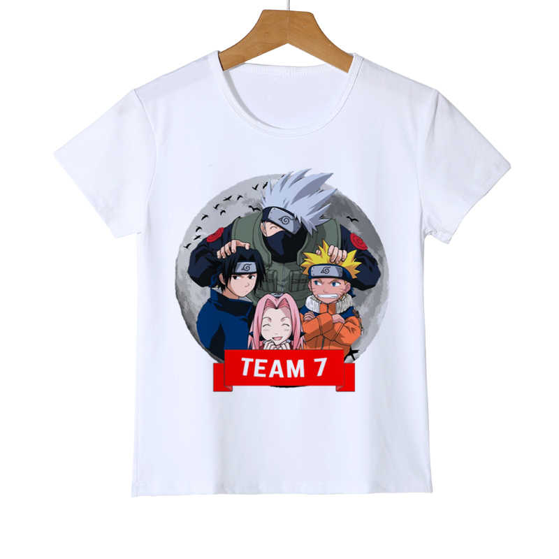 Kid New Japanese Anime shirt White Naruto Cartoon Children's Tshirt Summer Short Sleeve Modal Boy Girl Baby T-shirt Brand Z38-14