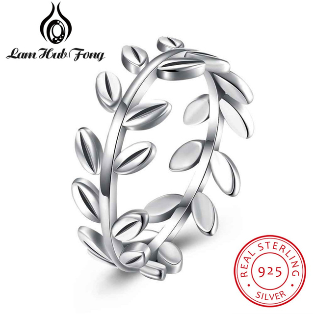 2018 New Women Rings Real 925 Sterling Silver Finger Ring Leaves Design Party Fi