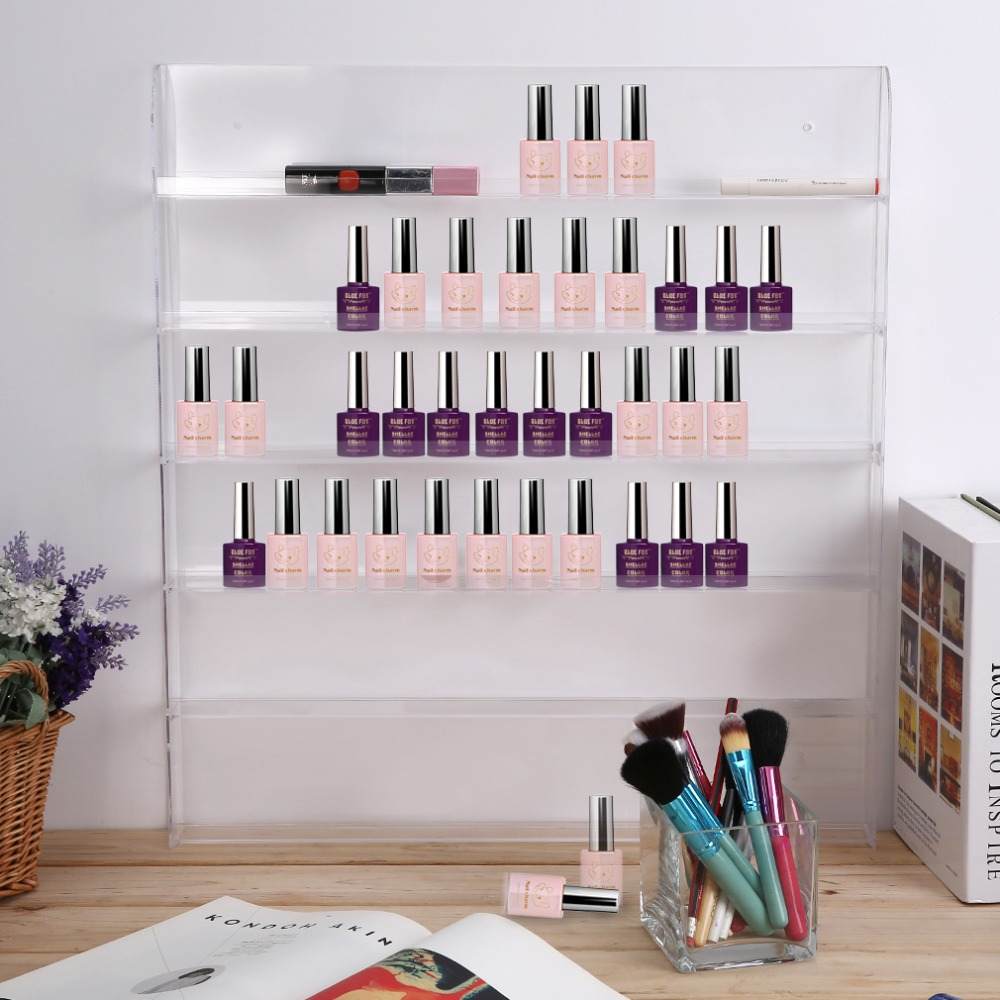 Practical Premium 6 Layer Acrylic Cosmetic Nail Polish Bottle Storage Holder Display Organize Wall Rack (fit 90 to 126 bottles) bfq262a to 126