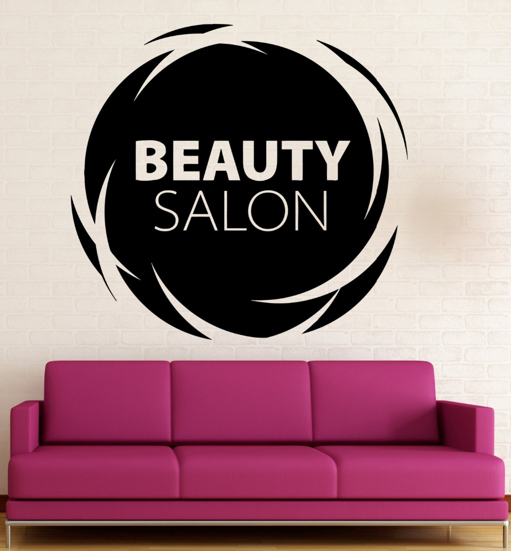 Spa salon logo wall decal quotes beauty salon vinyl wall for Stickers salon design