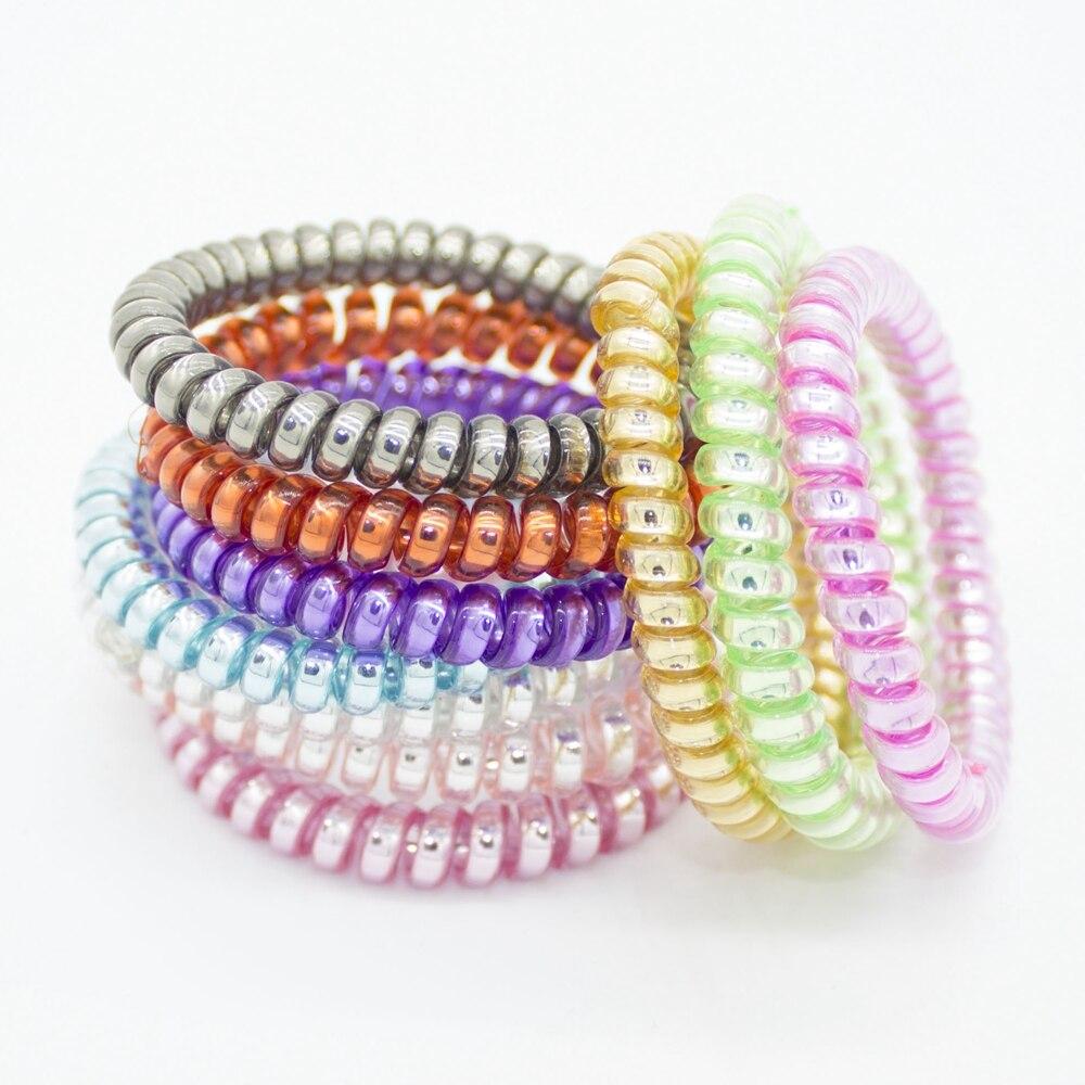 10 Pieces Fashion Telephone Wire Hair Bands Elastic Gum Spring Scrunchy For Women Children Girls Headband Hair Accessories