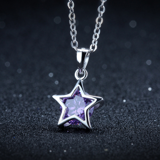 Fashion 925 Sterling Silver Necklace Pendant,Women Party Jewelry,Silver Star Shaped Pendant
