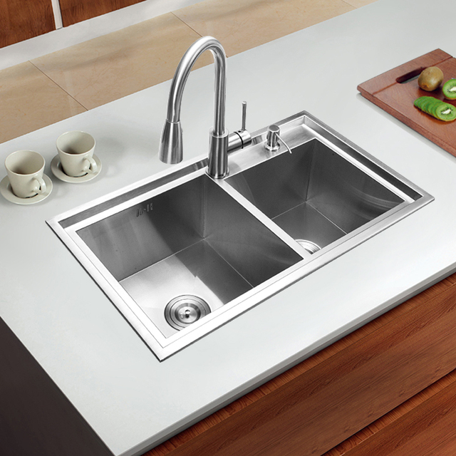 780*430*220mm 304 Stainless steel undermount kitchen sink set double bowl Drawing drainer Handmade brushed seamless sink & 780*430*220mm 304 Stainless steel undermount kitchen sink set double ...