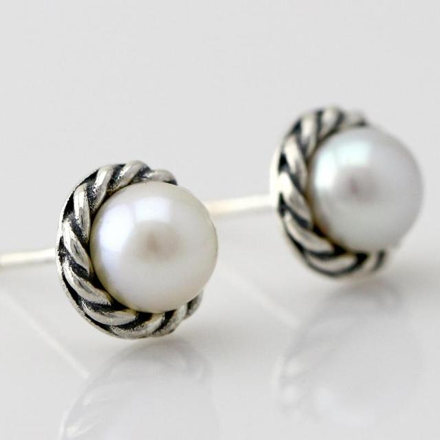 S925 Sterling Silver Pearl Stud Earrings Pearls Jewelry For Women Hemp Flowers Thailand Vintage Style Perolas