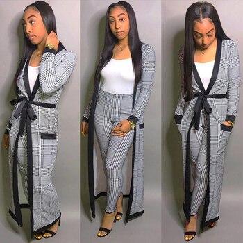 For Women 2 TWO PIECE SET Tie Waist Long Pants Plaid Office Lady Outfit Cloak Maxi Coat Runway Twin Suit X-Long Plus Size Winter 1