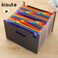 Kicute 1pcs High Capacity Multicolour Stand Expandable Portable Accordion A4 File Rainbow Document Bag Office School