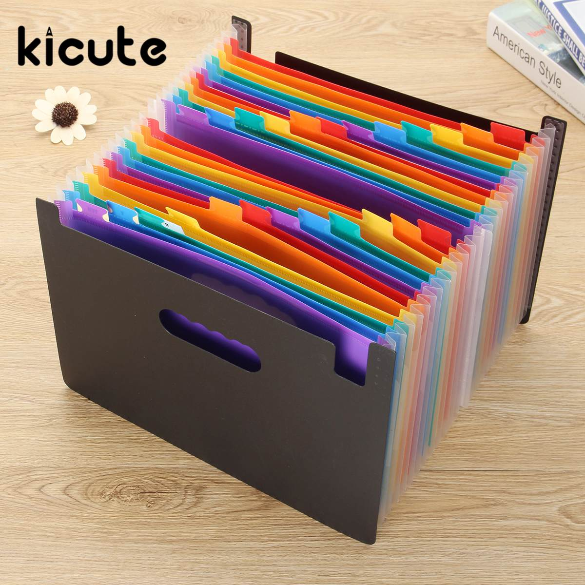 Kicute 1pcs High Capacity Multicolour Stand Expandable Portable Accordion A4 File Rainbow Document Bag Office School Supplies high quality large capacity portable a4 document bag durable stationery business files organizer school office supplies
