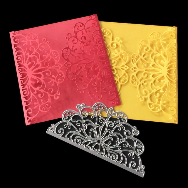Wedding Invitation Card Lace Flower Border Frame Metal