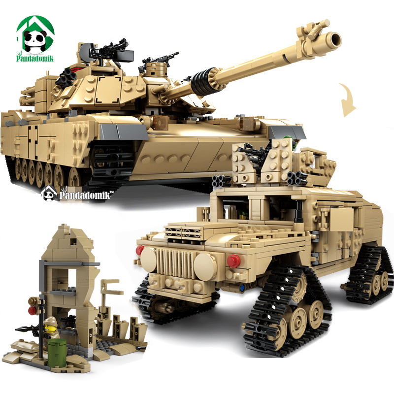 Kazi Large Military 1463pcs 2in1 Tank Hummer Building Blocks Bricks Army War Models Toys for Boys Children Compatible lepin xinlexin 317p 4in1 military boys blocks soldier war weapon cannon dog bricks building blocks sets swat classic toys for children