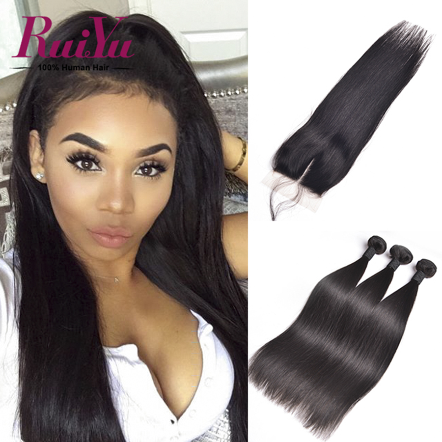 "Malaysian Straight Hair With Closure 3 Bundles Malaysian Virgin Hair With Closure 8""-28"" Cheap Straight Human Hair With Closure"