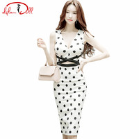 2017 New Women Sexy V-Neck Cloth Ladies Dot Print Bodycon Vestidos Sleeveless Vest Hollow Out Middle Length Pencil Party Dresses