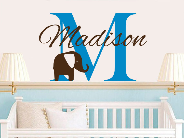 Vinyl Wall Decals For Boys Room Decor Custom Personalized Baby Boys Name With Lovely Eephants And Initial Art Sticker D-324