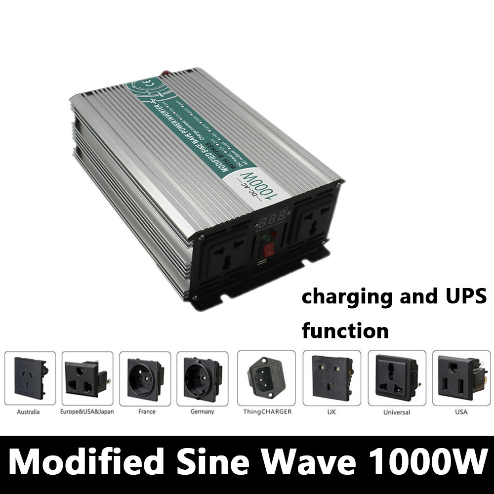 цена на 1000W Modified Sine Wave Inverter,DC 12V/24V/48V To AC110V/220V,off Grid Solar Inverter,voltage Converter with charger and UPS