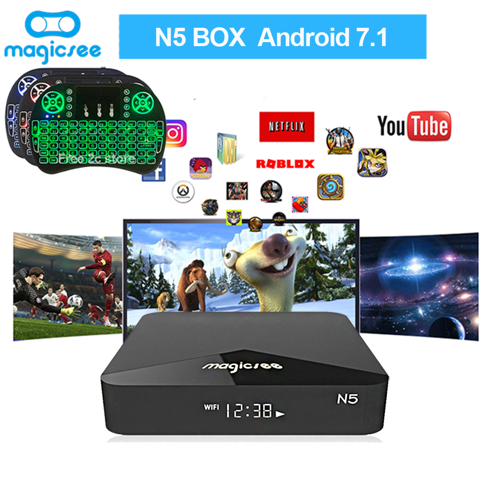 N5 SmartTV Box Android TV Box Amlogic S905X Android 7.1 2 GB RAM 16 GB ROM 2.4G 5G wiFi 100 M BT4.1 Set Top Box soutien I8 Clavier