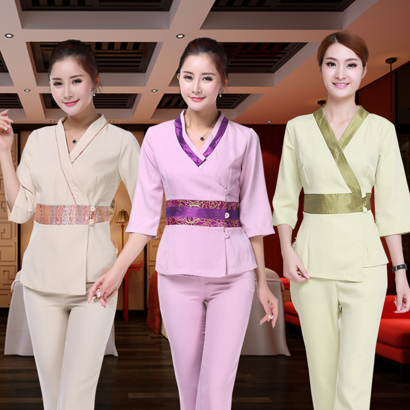 (10 Set/lot)Beautician Overalls Spring, Summer, Autumn And Winter The New Thai Beautician Clothing Spa Spa Overalls Women