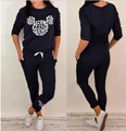 8991 Autumn Suits for Women Cartoon Tracksuit Costomes Sweatshir Set Black O-neck Sweater Pants Suit pullover two piece sets