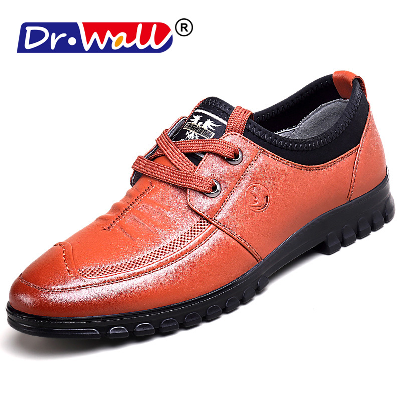 2018 Dr.wall Fashion Men Shoes Genuine Leather Men Dress Shoes Brand Luxury Men's Business Casual Classic Gentleman Shoes Man 2017 new spring imported leather men s shoes white eather shoes breathable sneaker fashion men casual shoes