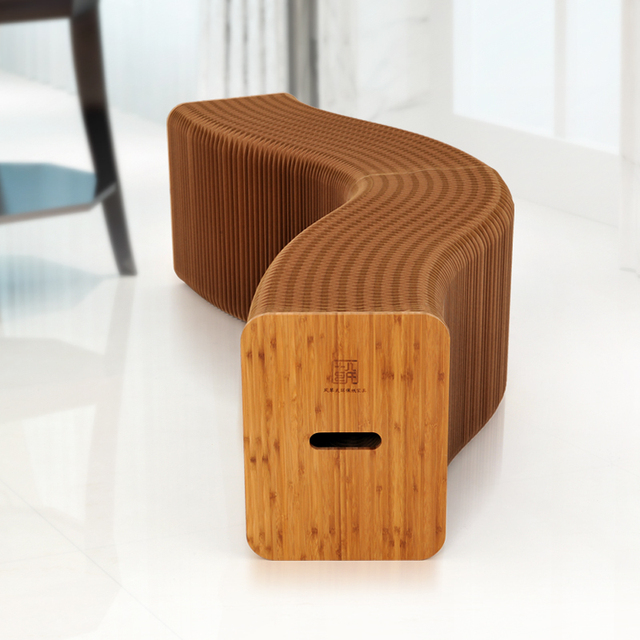 Creative Kraft Paper Folding Stool Bench Paper Furniture Organ Shaped Chair  Ideal For Home/Outdoor