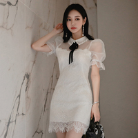 new arrival temperament fashion work style female mini pencil dress sexy elegant white lace perspective formal dress