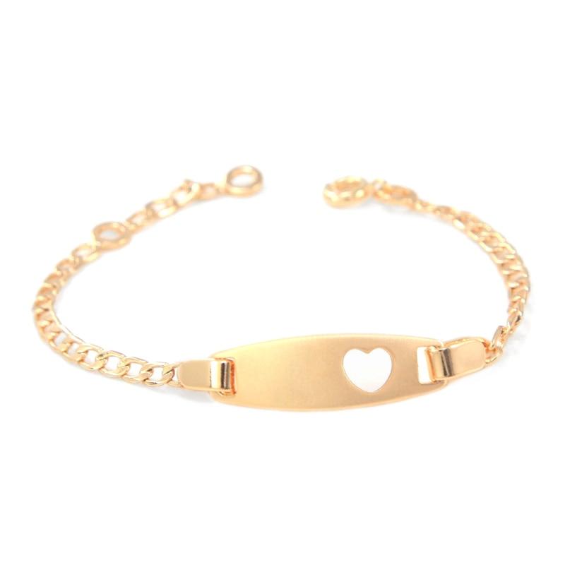 17cm Heart Baby Bracelets Gold Chain Bangles Bracelet Bebe Pulseira Pulsera Bracelete Bracciali Ninas S Boy