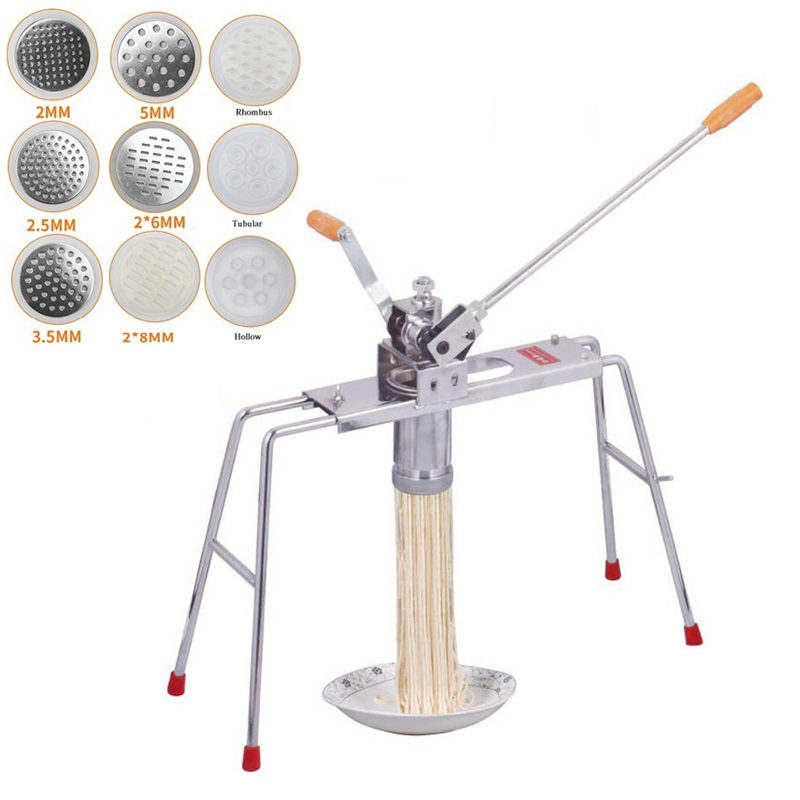 Stainless Steel Vermicelli Spaghetti Maker Manual Macaroni Pasta Machine With 9 Noodle Mould Linguine Maker For