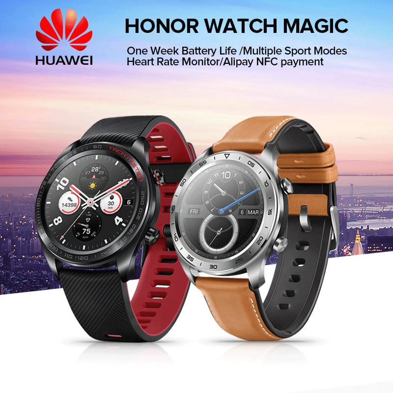 HUAWEI HONOR Watch Magic Glory Lightweight 50 Meters Waterproof AMOLED Color Screen GPS NFC Payment Smart Watch New Arrival