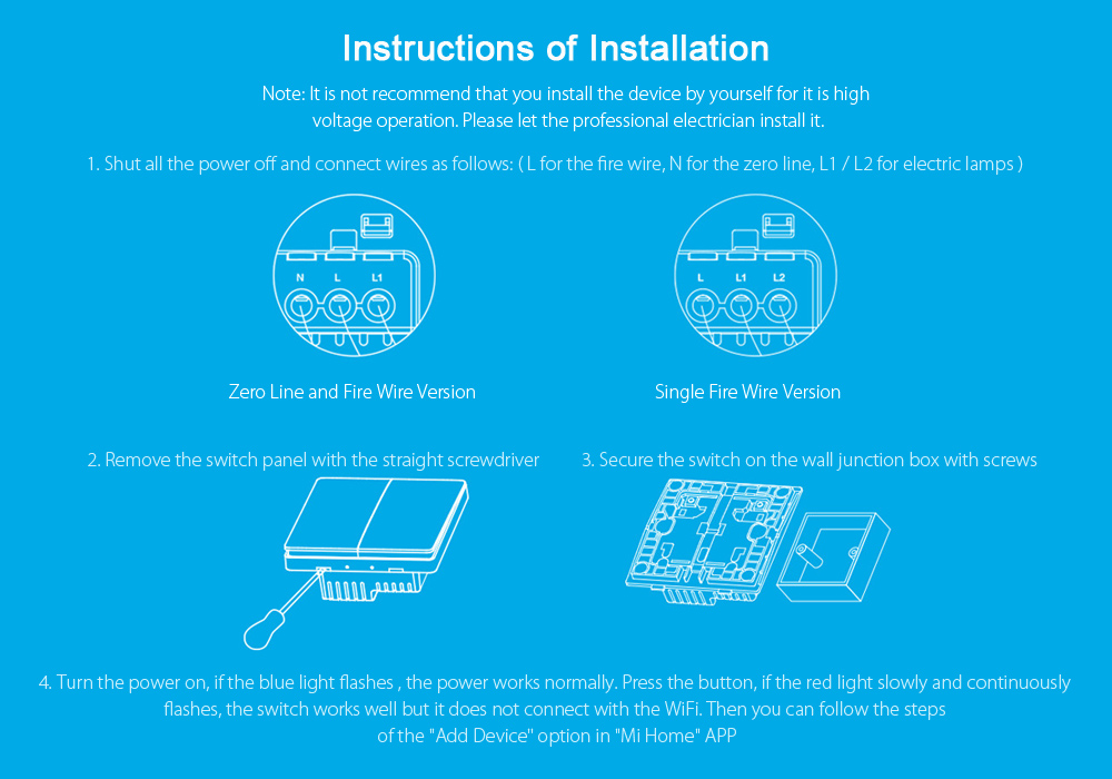 Original Xiaomi Aqara Smart Light Control Fire Wire Zero Line ZiGBee ...