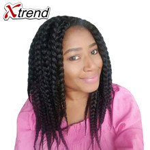 Xtrend 3S Box Braid Crochet Hair 14inch 12stands Synthetic Hair Extensions Black Brown Burgundy High Temperature Fiber 4PCS/Lot(China)