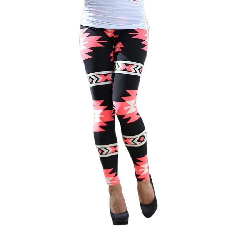 Women Plus Size Tribal Aztec Print Leggings Multicolor Long Soft Pant 9 Colors
