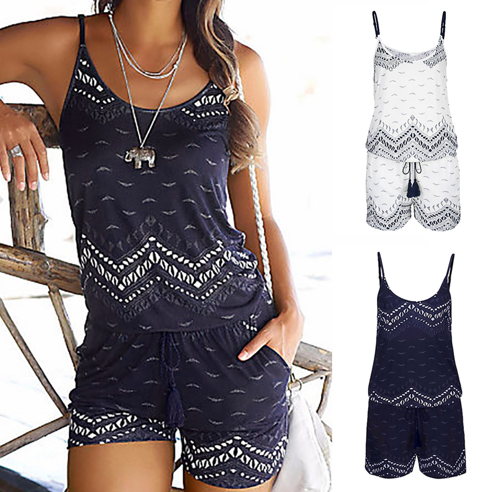 2019 Summer   Jumpsuit   Women's Holiday Strap Polyester Bohemian Printed Tassel Sling Shorts   Jumpsuit   Beach 4.1