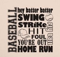 Sport Vinyl Wall Decal BASEBALL COLLAGE SUBWAY Words Lettering Mural Art Wall Sticker Boys Bedroom Home Decoration