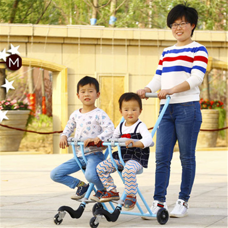 Baby Stroller for Twins Portable Triciclo Infantil Double Stroller Folding Tricycle Bike Trolley Bebek Arabasi stadler form inner pot 5l чаша для мультиварки sfc 919